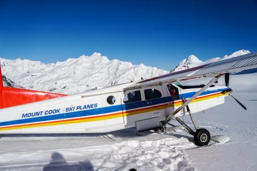 Ski Plane after landing on the glacier.