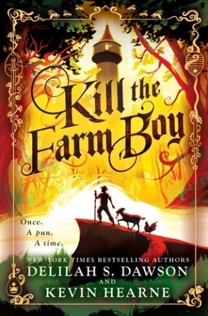 An image of the Kill the Farm Boy cover. A castle tower is in the background, with a goatherd and his goat in the foreground on a slight hill.
