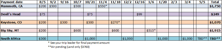Payment Schedule 2021