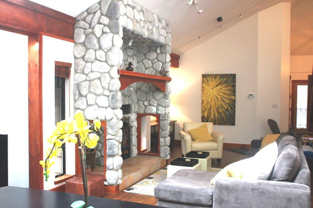 Whistler 5 Bedroom Rental Stone Fireplace