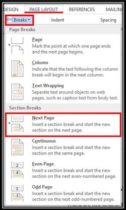 Create section in Microsoft word