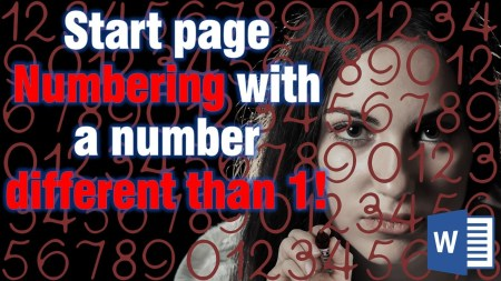 Start page Numbering with a number different than 1! Microsoft Word