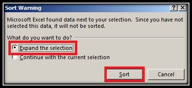 Expand sorting selection in Excel