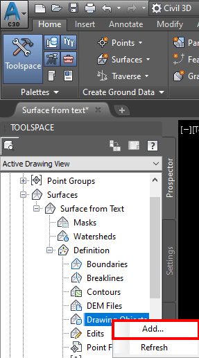 How to add text to Surface in Civil 3D