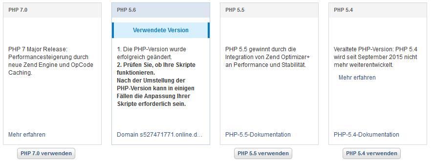 PHP extended support von 1und1 kündigen & widersprechen