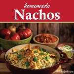 Casserole of Nachos with salsa and cheese