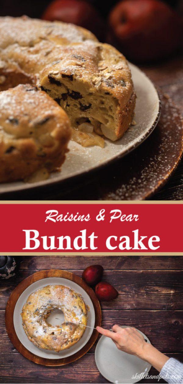 Raisins,pear-bundt-cake