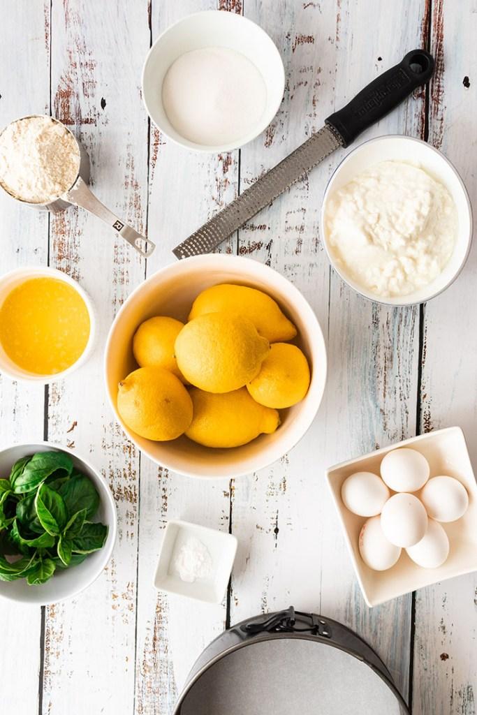 Ingredients for a Lemon Basil Sponge Cake
