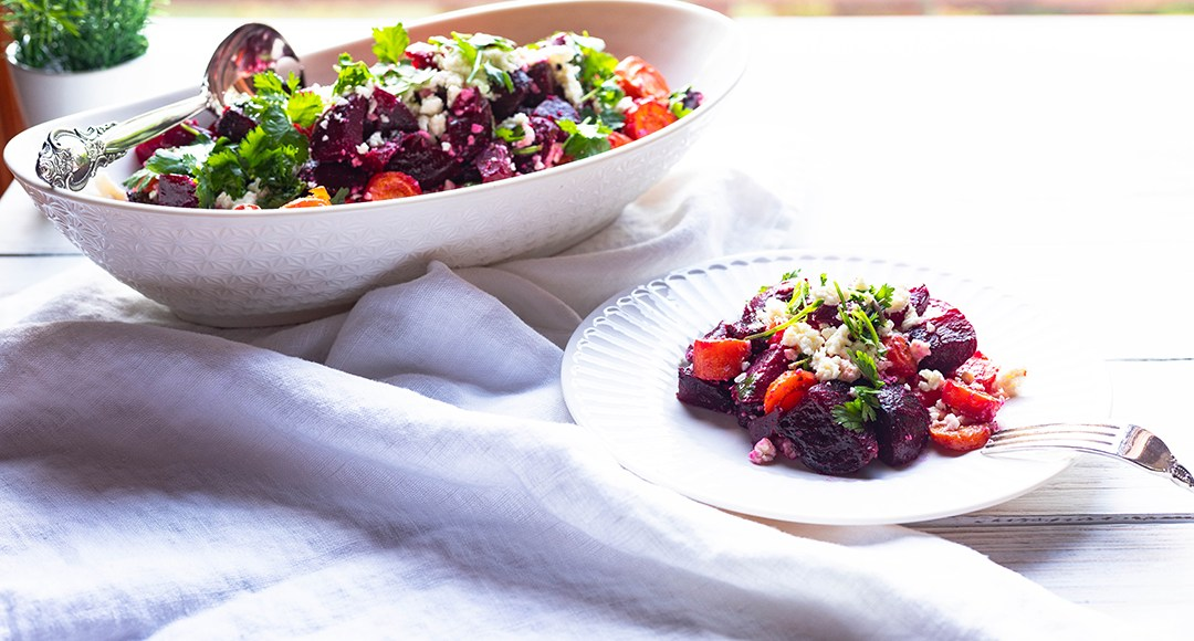 Roasted Beets and Carrots Salad An easy and delicious roots vegetables salad with feta cheese.