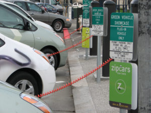Three converted Prius Plug-In Hybrids charging at San Francisco City Hall