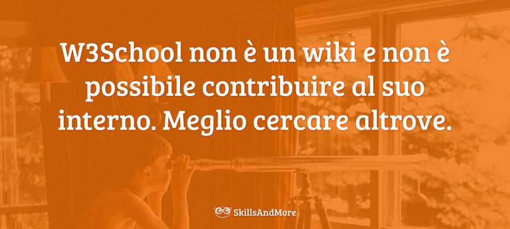 W3School non è un wiki e non è possibile contribuire al suo interno