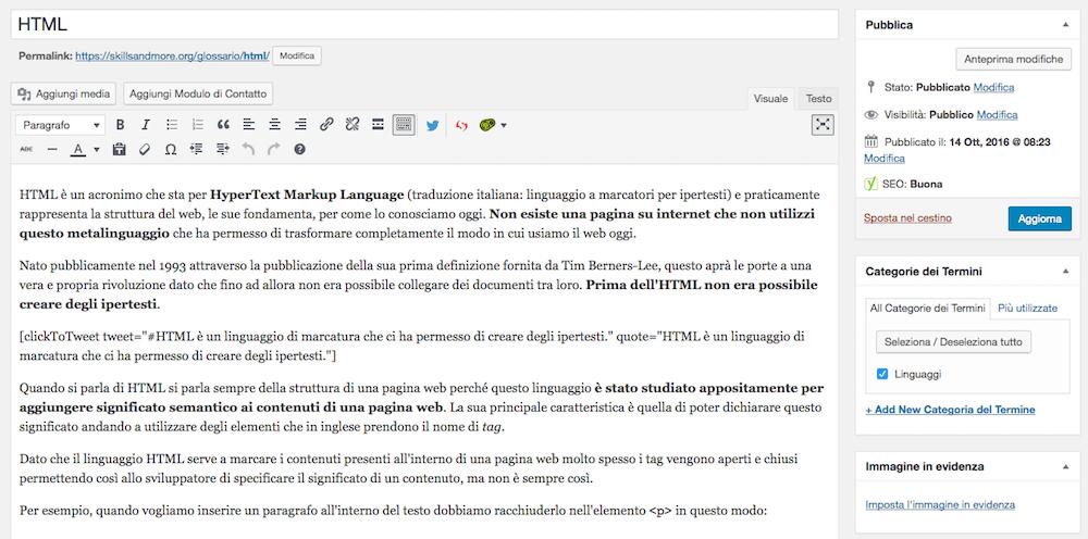 Schermata di impostazioni per il singolo termine in Glossary for WordPress