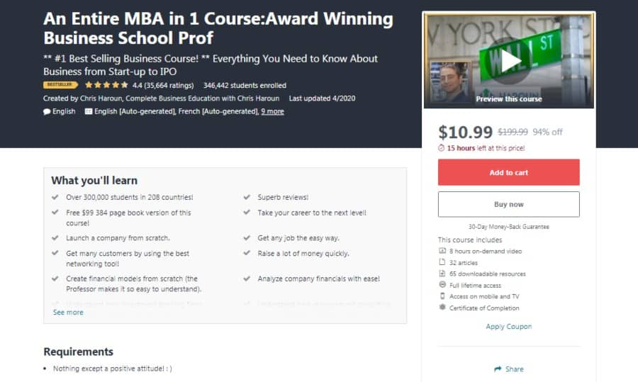 An Entire MBA in 1 Course:Award Winning Business School Prof