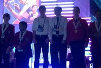 SkillsUSA's internetworking medalists (postsecondary) wait to be recognized. Mackenzie is third from the left.