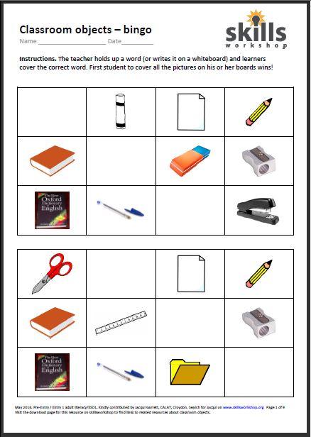 Classroom Objects Reading Bingo Game Skills Workshop
