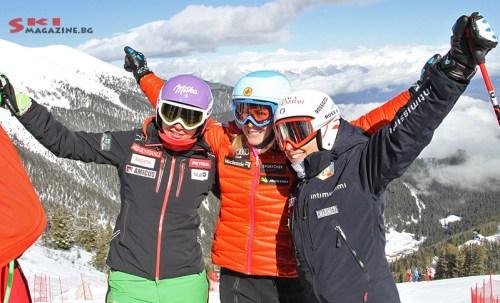 Тина Мазе, Мари-Мишел Ганьон и Елена Куртони (от ляво на дясно)