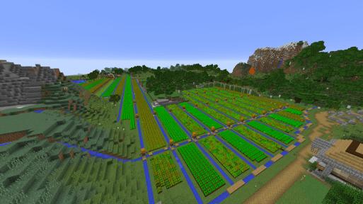 minecraft マイクラ マインクラフト 畑 大規模 農業 農場 小麦 ニンジン 第2畑地区 全景