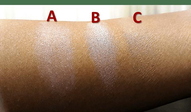 化粧下地の機能性によるぼかし効果の違い(伸ばした状態)