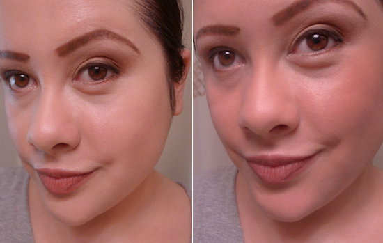 Left: My makeup without Dim Light Ambient Lighting PowderRight: My makeup with Dim Light Ambient Lighting PowderThe difference is definitely more pronounced in person than it is in photos.