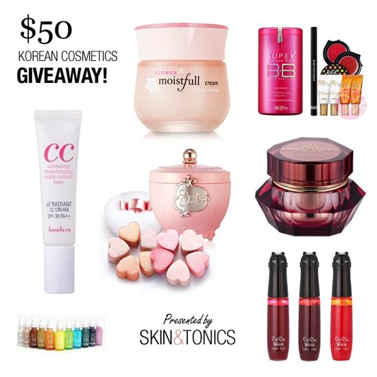 $50 Korean Cosmetics Giveaway - Skin & Tonics & W2Beauty