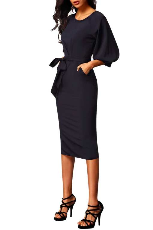 Black Puff Sleeve Belt Chiffon Pencil Dress LC61691 2 3 Copy 2 Puff Sleeve Belt Chiffon Pencil Dress