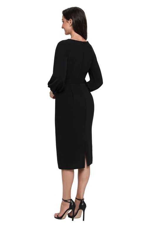 Black Puff Sleeve Belt Chiffon Pencil Dress LC61691 2 5 Copy Copy 1 Puff Sleeve Belt Chiffon Pencil Dress