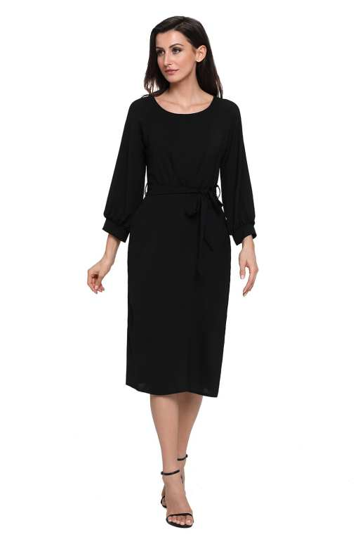 Black Puff Sleeve Belt Chiffon Pencil Dress LC61691 2 6 Copy 1 Puff Sleeve Belt Chiffon Pencil Dress