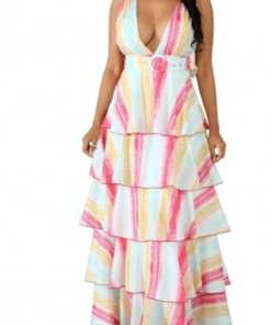 Captureik Pretty Captivating Layered Pink Waist Belt Open Back V Neck Maxi Dress Classic Fashion