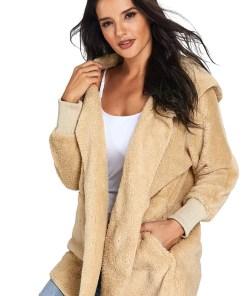 LC85111 16 3 Beautiful Soft Fleece Hooded Open Front Coat