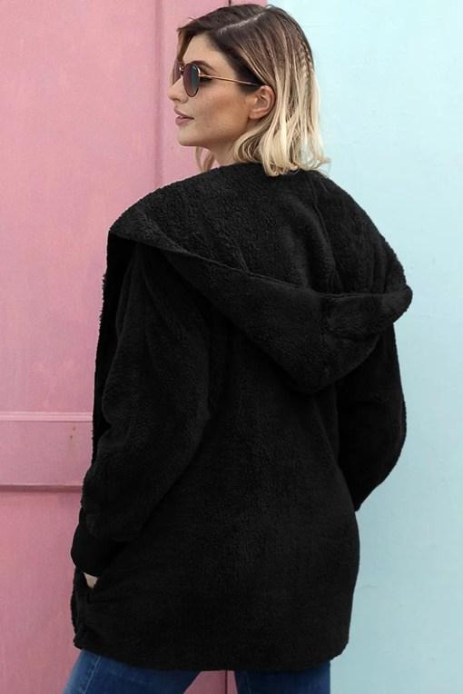 LC85111 2 2 Beautiful Soft Fleece Hooded Open Front Coat