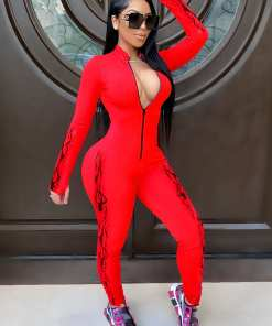 Comfortable Soft Rose Red Stand-Up Collar Jumpsuit Zipper Thumbhole