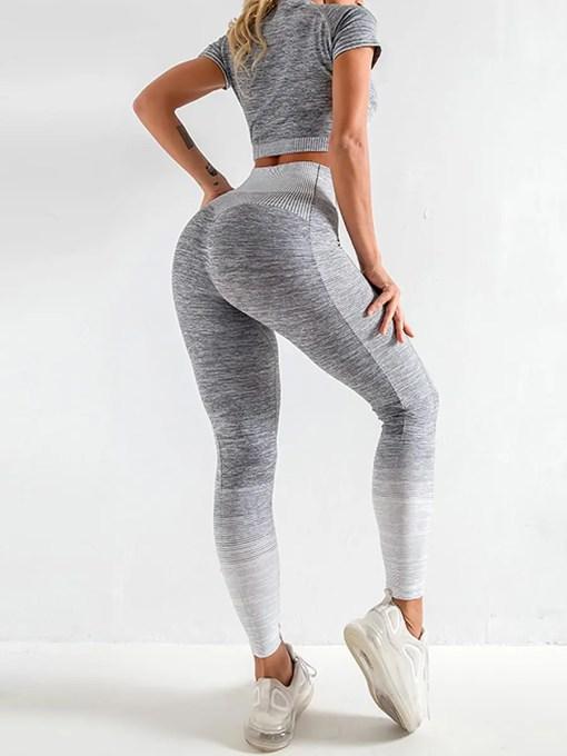 YD200058 GY1 3 Maldonado Scintillating Crop Top Seamless High Waist Pants Women's Activewear