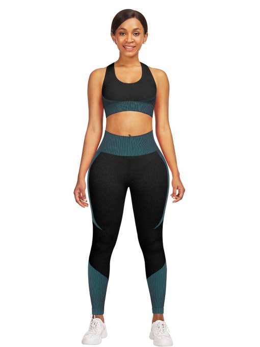 YD200306 BU8 Athletic and Fabulous Strap Crop Top High Waist Leggings