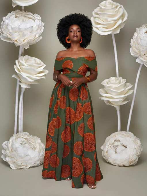 Beautiful Slimming Maxi Dress African Paint Off Shoulder For Lounging