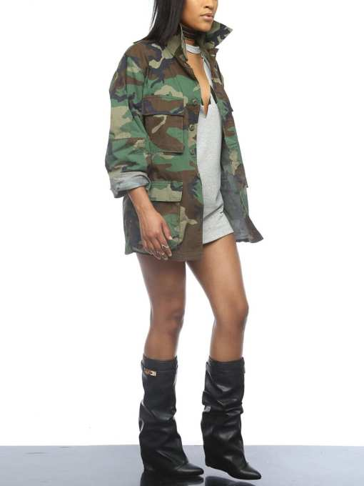 Hot Virtuoso Camo Large Size Turndown Neck Jacket