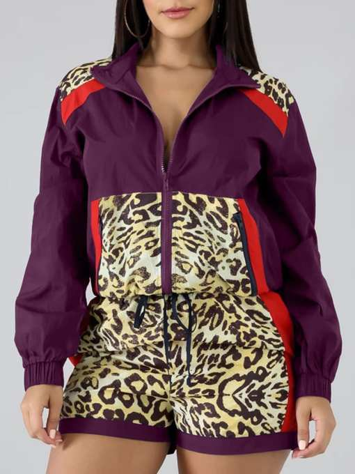 VZ192552 PL1 Chic Elasticated Purple 2-Piece Zipper Long Sleeve High Rise