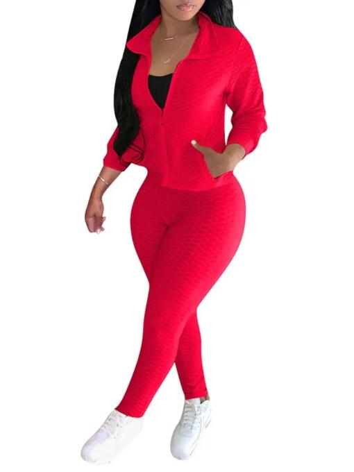 Comfortable Zipper Front Turndown Collar Women Sets
