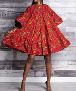 Gorgeous Kinetic African Style O-Neck Pleated Orange Printed Dresses