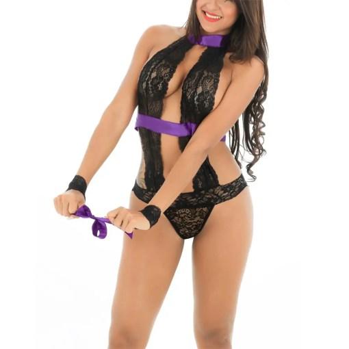 Sexy Bliss Lace Bodysuit Lingerie Wrist Restraints