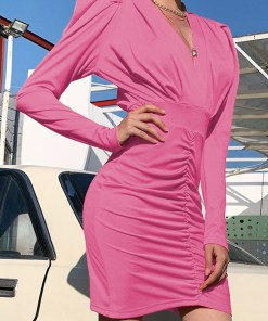 Cute Solid Color Puff Sleeves Bodycon Dress