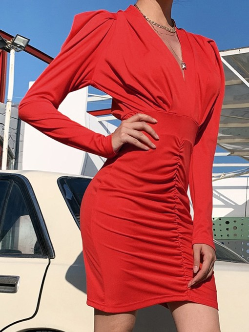 VZ200105 RD1 2 Cute Solid Color Puff Sleeves Bodycon Dress