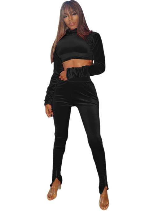 Beautiful Long Sleeve Zipper Fitted Women Set Super Faddish