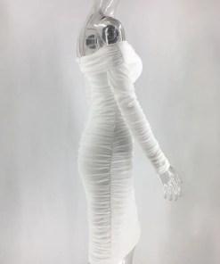 VZ200571 WH1 4 Classic White Full Sleeve Bare Shoulder Midi Dress Luscious Curvy