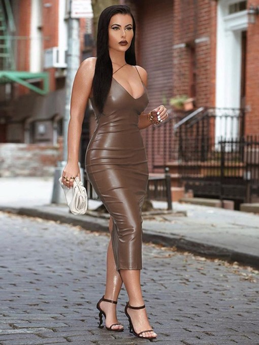 Irregular Strap Zipper Leather Bodycon Dress Visual Effect