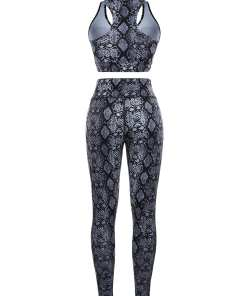 YD200164 GY1 6 Chic Gray Snake Pattern High Rise Racerback Sweat Suit For Workout