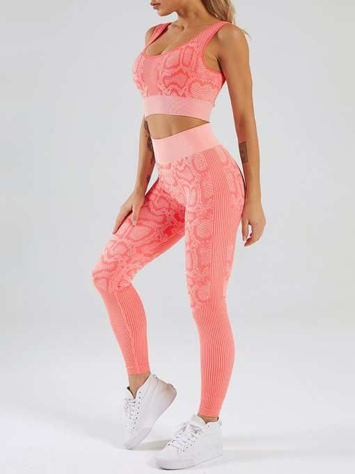 Snakeskin Print Seamless Yoga Two-Piece Outfits Weekend Time