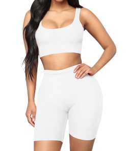 Two-Piece Sleeveless Top High Rise Sports Shorts Double-Layer