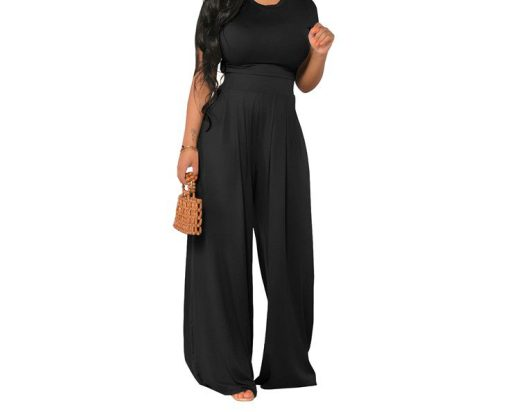 black 2 piece 2 2 Piece Solid Top and Pant Set