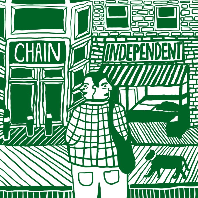 Image of a two-headed figure looking out at a chain store to one side and an independent store to the other.