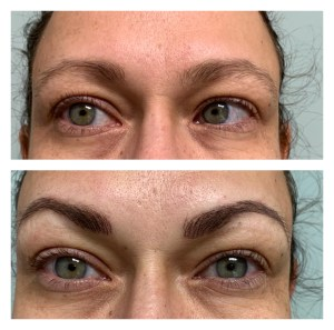 BEFORE AND AFTER EYEBROW MICROBLADING